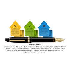 Business infographics template ink pen with vector