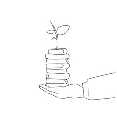 Business man hand holding plant on books stack vector