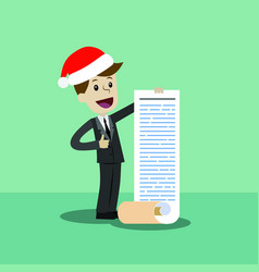 Businessman or manager in christmas hat thinking vector