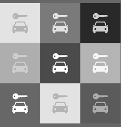 Car key simplistic sign grayscale version vector