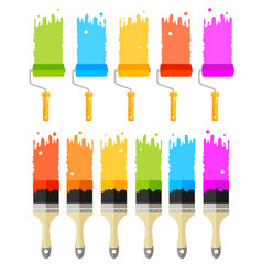 Cartoon color paint roller and brushes set vector