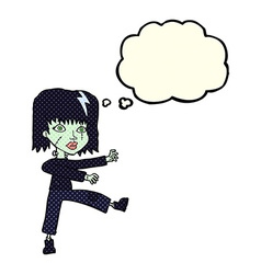Cartoon zombie girl with speech bubble vector