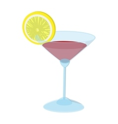 Cocktail with a lime slice cartoon icon vector image