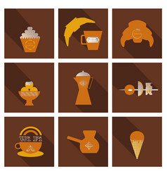 coffee color drawn collection sketch set with vector image