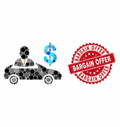 Collage car seller with distress bargain offer vector