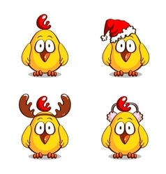 Collection Funny Christmas Chicks vector image