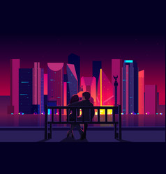 Couple enjoying mexico city night view vector