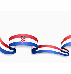 Croatian flag wavy abstract background vector