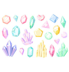 Crystals and gems pink and purple gemstones vector