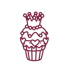 Cute cupcake sweets art vector