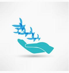 Dove in hand vector