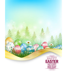 easter eggs background with space for text vector image