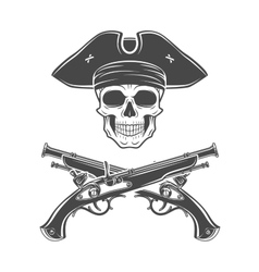 Evil captain skull in cocked hat Jolly vector image