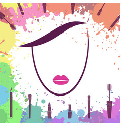 Face of beautiful girl makeup artist logo vector
