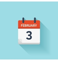 february 3 flat daily calendar icon date vector image