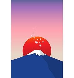 fuji mountain with falling sakura petals vector image