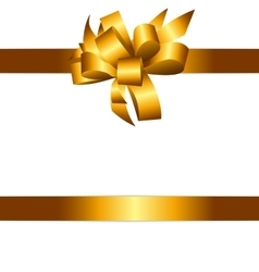 Gift Card with Golden Bow and Ribbon vector