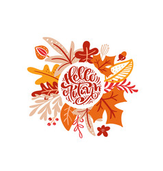 greeting card with text hello autumn orange vector image