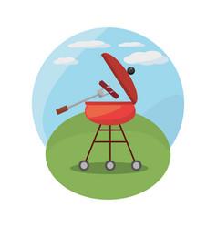 Grill barbecue picnic landscape vector