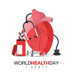 Heart organ with pills to world health day vector
