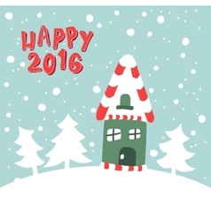 house on a snowy background vector image