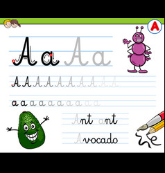 How to write letter a workbook for children vector