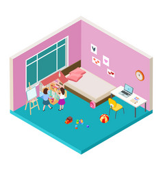 Isometric nursery two girls are playing with big vector