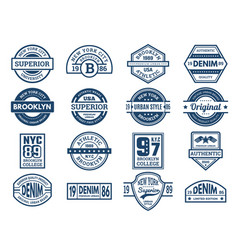 jeans emblems vintage typography labels urban vector image