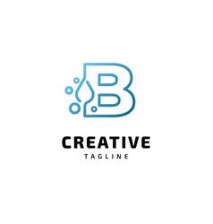 Letter b alphabet water logo design vector