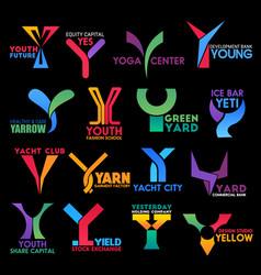 letter y corporate identity premium color design vector image