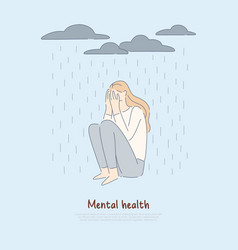 Lonely woman under raining clouds depressed girl vector