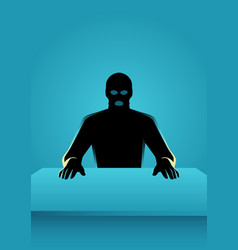 Man in mask sitting in front of a table vector