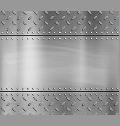 Metal blank polished plate with rivets and pattern vector