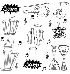 Music pack tools doodles vector