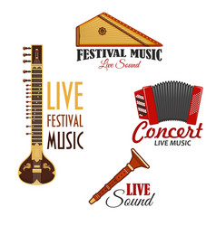 Musical instruments icons for music concert vector