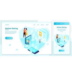 online dating mobile application web set vector image