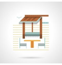 Outdoor rest chairs flat color design icon vector