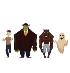 People dressed in monster zombie werewolf and vector