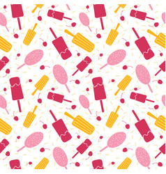 Pink and yellow ice cream seamless pattern vector