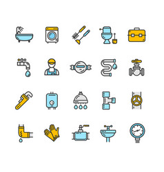 plumbing signs color thin line icon set vector image