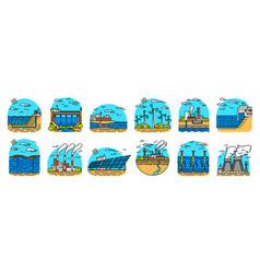 power plants icons industrial buildings nuclear vector image