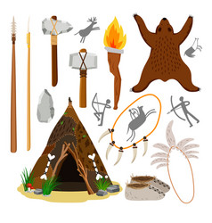 primitive caveman elements vector image