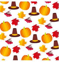 pumpkin hat cherries thanksgiving day pattern vector image