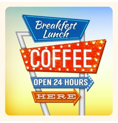 Retro neon sign breakfest coffee vector