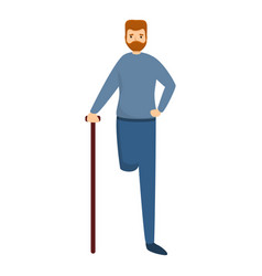 Sad man with amputated leg icon cartoon style vector