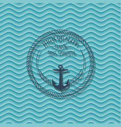 Sea label on blue waves background vector