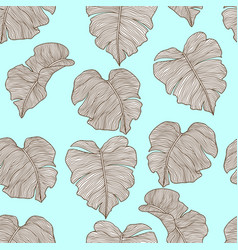 seamless pattern with stylized palm leaves vector image