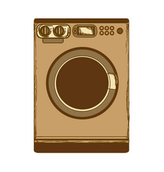 Sepia silhouette with washing machine vector