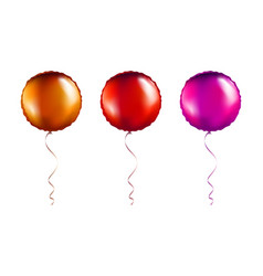 Set bronze and pink round shaped foil balloons vector