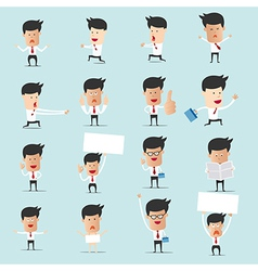 set cartoon businessman with many character vector image